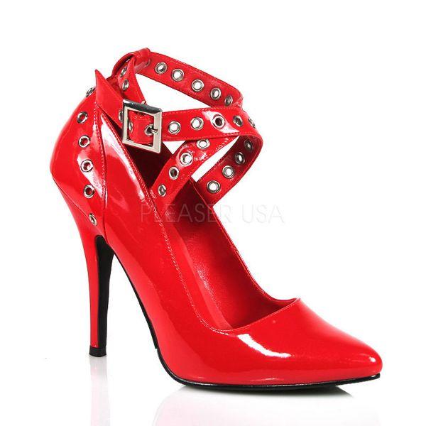 SEDUCE-443 rot Lack     Rote Lack High Heels mit breiten Riemchen